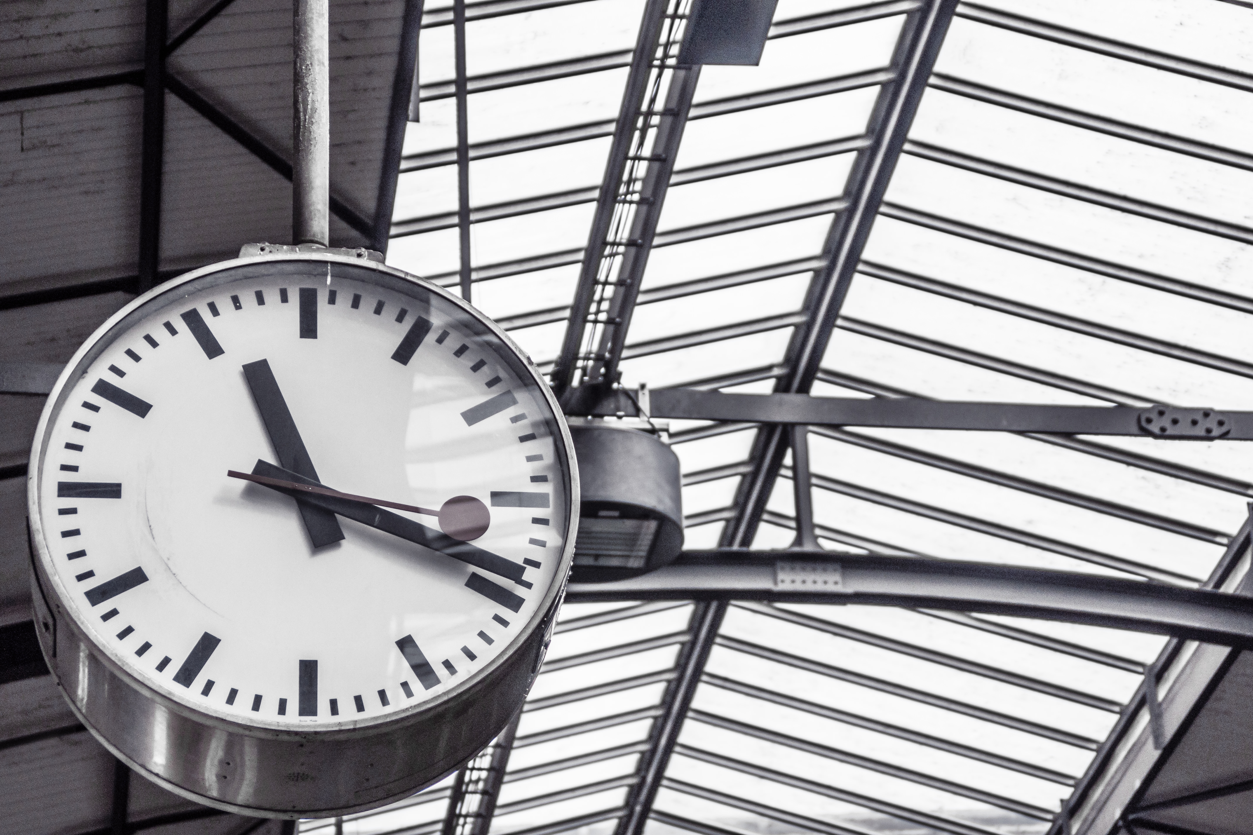 clock in a train station